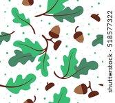 seamless pattern with green oak ... | Shutterstock .eps vector #518577322