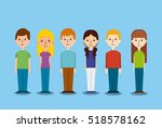 cartoon people smiling with... | Shutterstock .eps vector #518578162