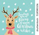christmas card template. hand... | Shutterstock .eps vector #518580106