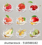 fruit  berries and yogurt.... | Shutterstock .eps vector #518588182