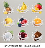 fruit  berries and yogurt.... | Shutterstock .eps vector #518588185