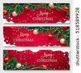 christmas banners set with fir...