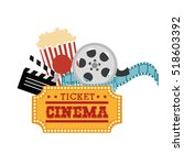 ticket cinema reel pop corn and ... | Shutterstock .eps vector #518603392
