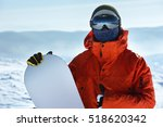 man snowboarder stands with... | Shutterstock . vector #518620342