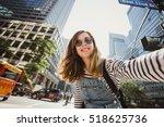pretty female girl tourist... | Shutterstock . vector #518625736