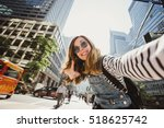 pretty female girl tourist... | Shutterstock . vector #518625742