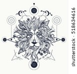 ornamental tattoo lion head.... | Shutterstock .eps vector #518634616