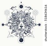 ornamental tattoo lion head.... | Shutterstock .eps vector #518634616