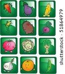 vegetables buttons set vector | Shutterstock .eps vector #51864979