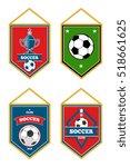 soccer pennants set isolated... | Shutterstock . vector #518661625