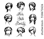 vector set of stylized logo... | Shutterstock .eps vector #518672626