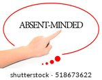 Small photo of Hand writing ABSENT-MINDED with the abstract background. The word ABSENT-MINDED represent the meaning of word as concept in stock photo.