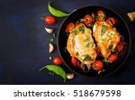 grilled chicken breast stuffed... | Shutterstock . vector #518679598