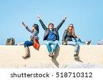 exultant friends with man hands ... | Shutterstock . vector #518710312