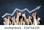 group of people rise hands .... | Shutterstock . vector #518716135