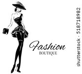 black and white fashion woman... | Shutterstock .eps vector #518718982
