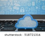 laptop with cloud computing...   Shutterstock . vector #518721316