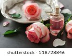 bottle of aroma oil with roses...   Shutterstock . vector #518728846