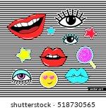 lips  eye  smile  star ... | Shutterstock .eps vector #518730565