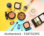 set of decorative cosmetics on... | Shutterstock . vector #518732392
