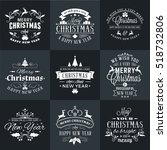 set of merry christmas and... | Shutterstock .eps vector #518732806