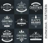 set of merry christmas and... | Shutterstock .eps vector #518732836