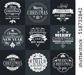 set of merry christmas and... | Shutterstock .eps vector #518732842