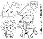 handsome prince riding a horse  ... | Shutterstock .eps vector #518732902