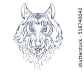 wolf in color for tattoo | Shutterstock .eps vector #518740042