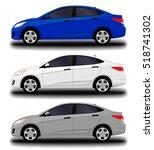 realistic car. small sedan. set | Shutterstock .eps vector #518741302