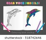 colouring book mockup... | Shutterstock .eps vector #518742646
