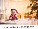 Cute Baby Girl Wearing Santa...