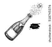 champagne bottle explosion.... | Shutterstock .eps vector #518745376