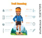 a man runs in the forest  trail ... | Shutterstock .eps vector #518747095
