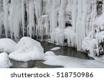 Frozen Beautiful Waterfall In...