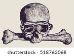 skull in motorcycle retro... | Shutterstock .eps vector #518762068