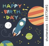 happy birthday card with space... | Shutterstock .eps vector #518773492