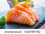 Salmon Raw Sashimi On Wooden...