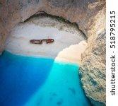 the amazing navagio beach in... | Shutterstock . vector #518795215