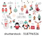 christmas elements collection ... | Shutterstock .eps vector #518796526