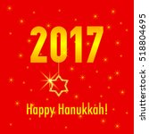 happy hanukkah card template... | Shutterstock .eps vector #518804695