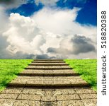 Stone Steps On The Grass In Th...