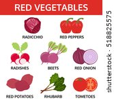 red vegetables collection  food ... | Shutterstock .eps vector #518825575