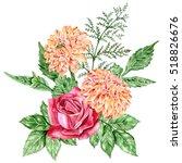 Orange Dahlia And Rose Red....
