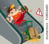 a careless deliveryman slipping ... | Shutterstock .eps vector #518826682
