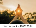 silhouette people pray from... | Shutterstock . vector #518828536