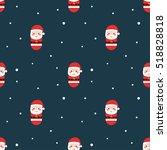 cute santa claus pattern... | Shutterstock .eps vector #518828818