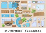 Icons set of interior (top view). Isolated Vector Illustration. Furniture and elements for living room, bedroom, kitchen, bathroom. Floor plan (view from above). Furniture store. | Shutterstock vector #518830666