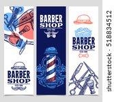 barber shop 3 vertical flat... | Shutterstock . vector #518834512