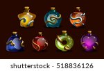 Set Game Icons Of Magic Elixir...